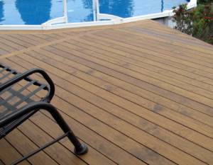 Refinish wood deck power wash